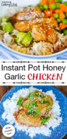 "photo collage of blue and white ceramic dishes full of chicken pieces covered in a honey colored glaze with sesame seeds sprinkled over top, next to avocado chunks, small carrot cubes, and peas, on a bed of rice; with text overlay: ""Instant Pot Honey Garlic Chicken (slow cooker, too!)"""