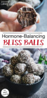 "photo collage of cacao date balls covered in shredded coconut, one of which has a bite taken out of it, with text overlay, ""Hormone-Balancing Bliss Balls For Seed Cycling"""