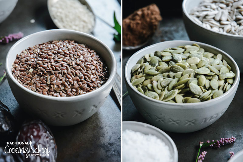 photo collage of a bowl full of flax seeds next to a photo of a bowl full of pumpkin seeds
