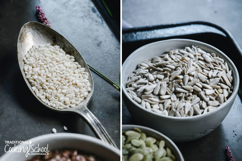 photo collage of a spoonful of sesame seeds next to a photo of a bowl full of sunflower seeds