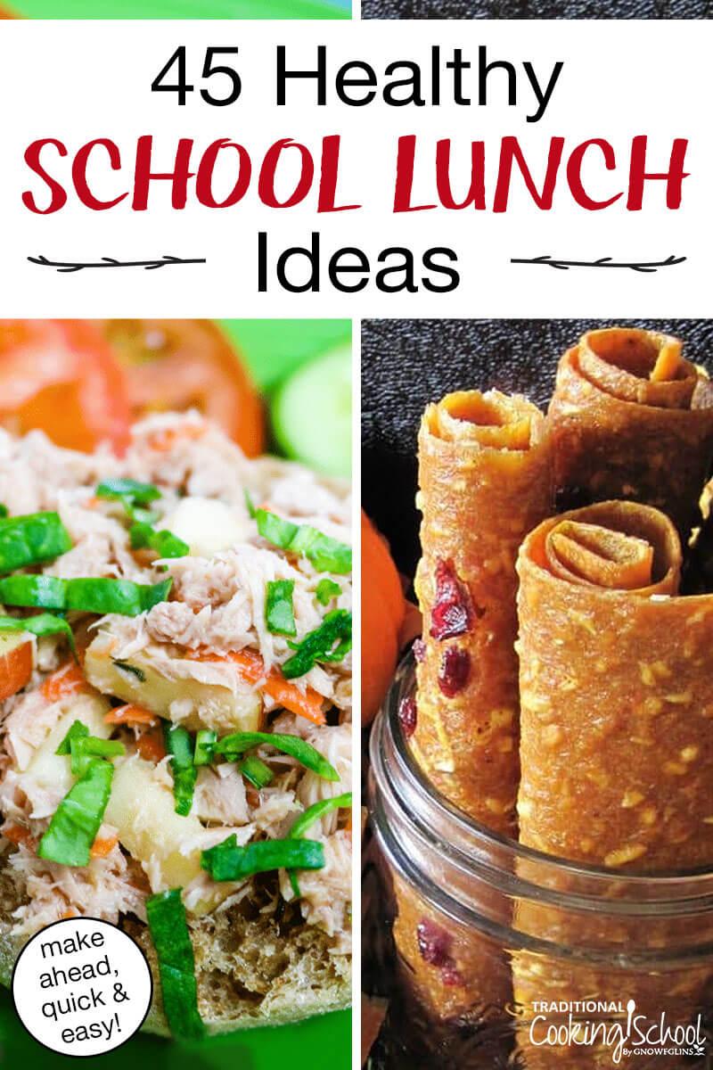 collage photo de wraps aux fruits et salade de thon avec incrustation de texte: