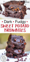"photo collage of gooey, decadent brownies sprinkled with melty mini chocolate chips with text overlay: ""Dark & Fudgy Sweet Potato Brownies (gluten-free with nut-free option!)"""