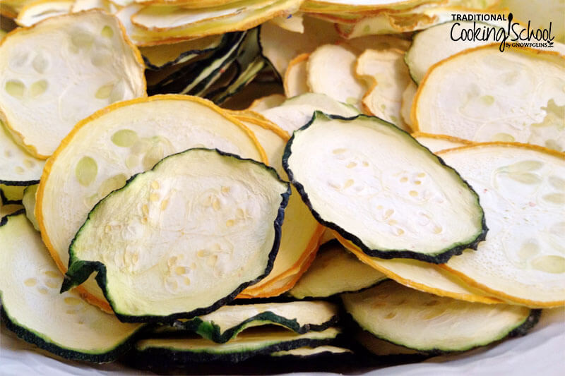dehydrated zucchini and summer squash chips