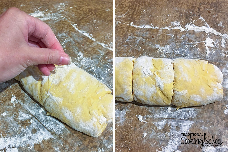photo collage of a woman's hand using dental floss to cut a log of dough into rolls