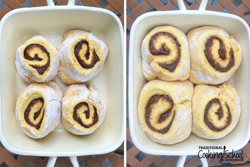 photo collage of uncooked cinnamon rolls in a stoneware baking dish, before and after their rise