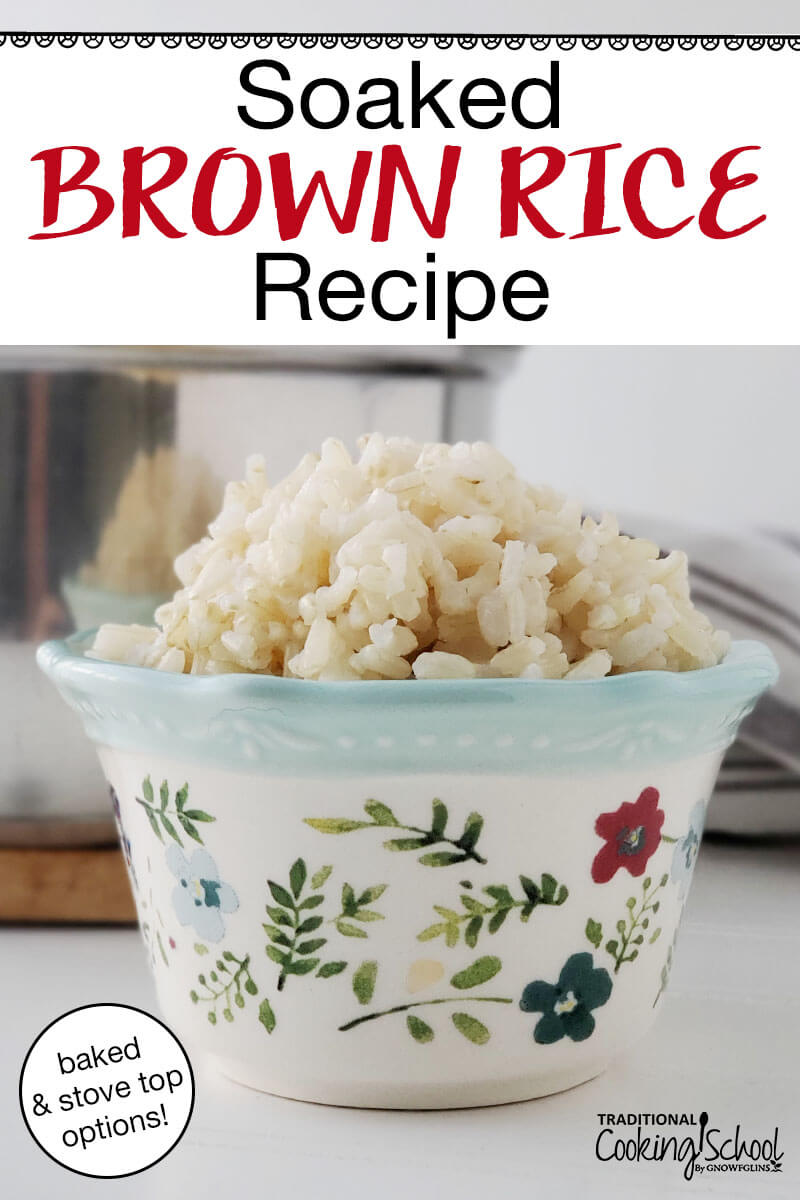 "beautiful ceramic bowl painted with leaves and flowers, full of fluffy cooked brown rice, with text overlay: ""Soaked Brown Rice Recipe (baked & stove-top options!)"""