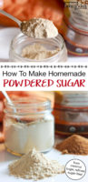 "photo collage of powdered sugar as compared to a pile of coarse coconut sugar in the background, with text overlay: ""How To Make Homemade Powdered Sugar (from coconut sugar, refined sugar-free!)"""