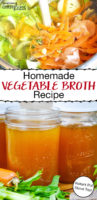 "photo collage of veggie scraps and pint-sized jars of amber-colored liquid, with text overlay: ""Homemade Vegetable Broth Recipe (Instant Pot, Stove Top!)"""