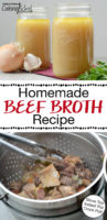 "photo collage of making bone broth from beef bones, with text overlay: ""Homemade Beef Broth Recipe (Stove Top, Instant Pot, Crock Pot!)"""