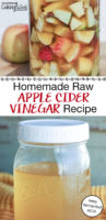 "photo collage of glass jars filled with honey-colored liquid and apple chunks, with text overlay: ""Homemade Raw Apple Cider Vinegar Recipe (easy fermented ACV!)"""