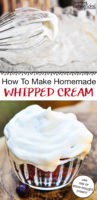 "photo collage of making whipped cream, with text overlay: ""How To Make Homemade Whipped Cream (use raw or store-bought milk!)"""