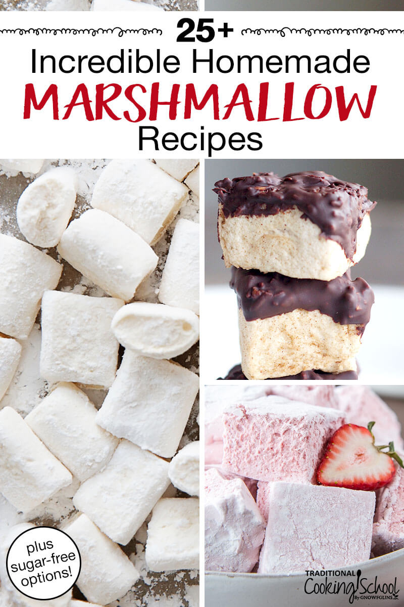 "photo collage of marshmallows, including plain, chocolate-dipped, and strawberry, with text overlay: ""25+ Incredible Homemade Marshmallow Recipes"""