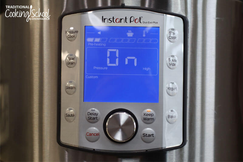display screen of an Instant Pot