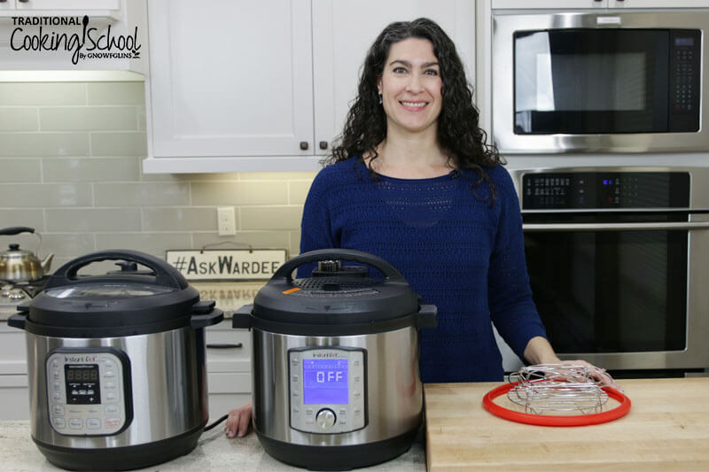 woman in kitchen with two different sized Instant Pots on counter