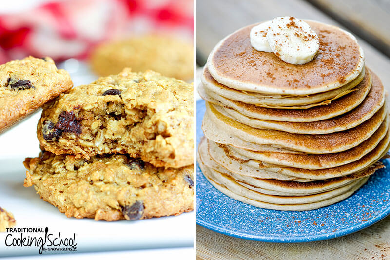 photo collage of buckwheat recipes: healthy breakfast cookies and blender pancakes