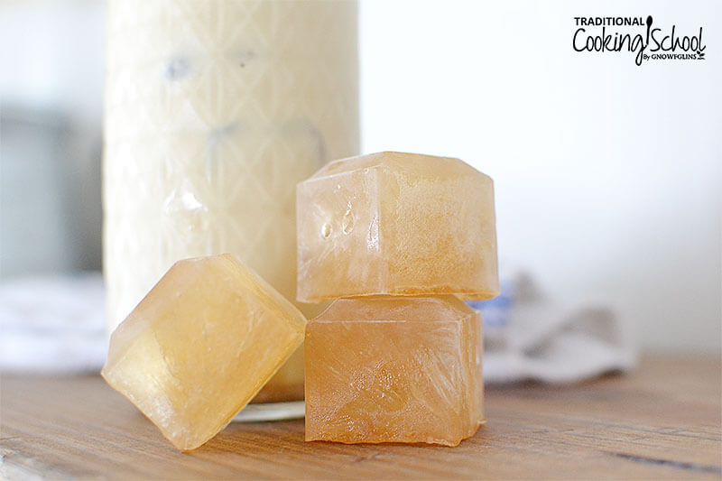 vanilla flavored ice cubes with a vanilla maca cooler in the background