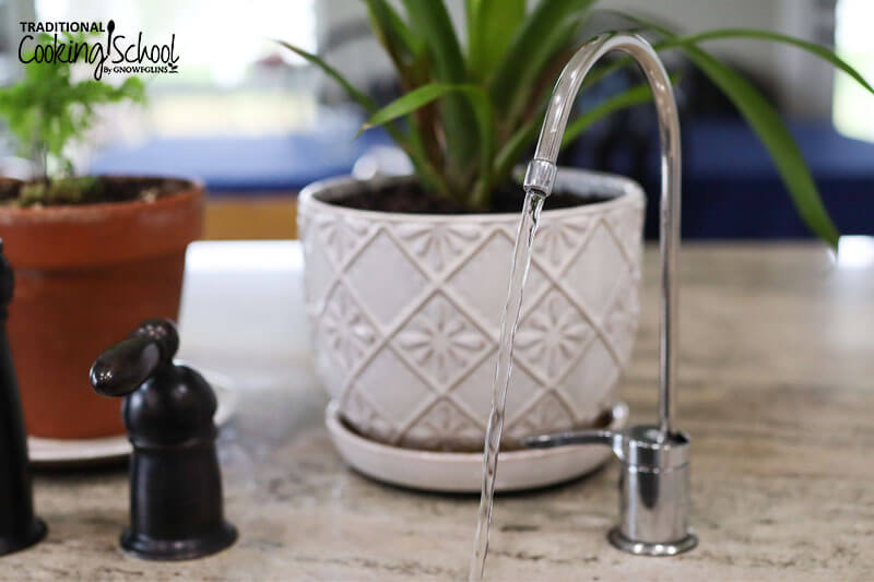 clean filtered water flowing out of a sinkside spigot