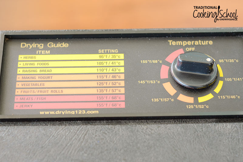 close-up photo of the Excalibur dehydrator control panel, with different temperature settings