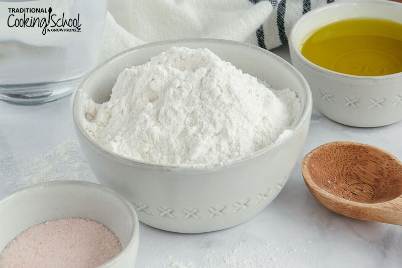array of ingredients including a bowl of cassava flour