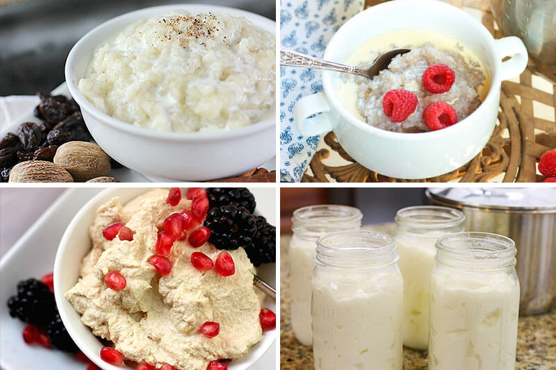 photo collage of Instant Pot recipes, including raw yogurt, rice pudding, buckwheat porridge, and cashew yogurt
