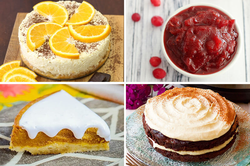 photo collage of Instant Pot dessert recipes, including dark chocolate and orange cheesecake, cranberry sauce, pumpkin pie, and chocolate zucchini cake