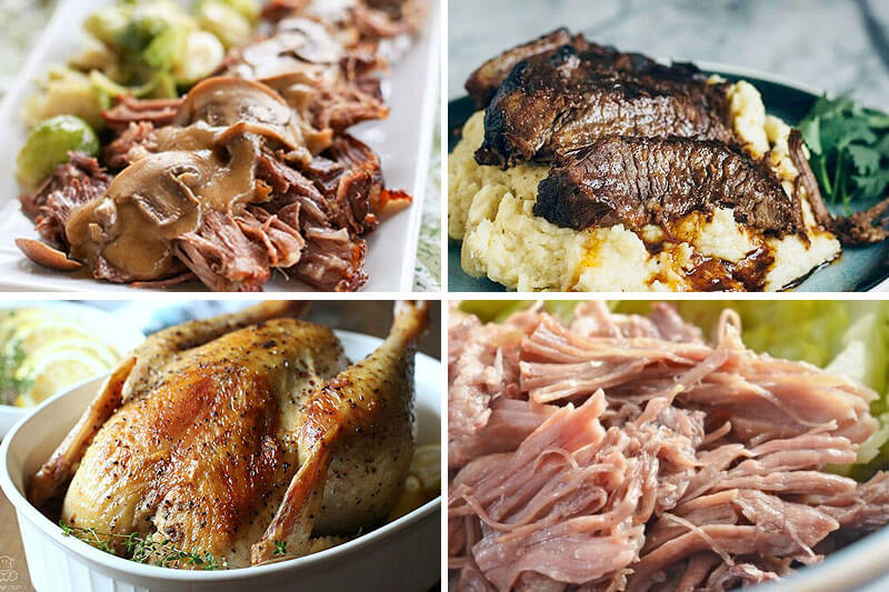 photo collage of delicious meats cooked in the pressure cooker, including a whole roasted chicken, Kahlua pig, and maple brisket