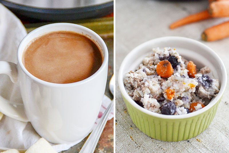 photo collage of hot chocolate and Instant Pot dog food