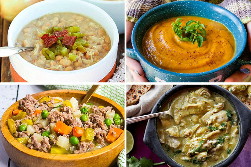 photo collage of healthy soup recipes, including tomato basil soup
