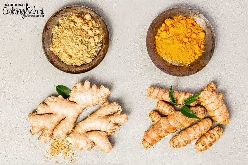 overhead shot of powdered ginger and ginger root (left), plus powdered turmeric and turmeric root (right)