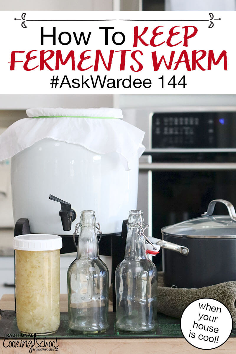 "continuous brew Kombucha and a jar of sauerkraut on a counter top with flip top bottles and a pot wrapped in a towel, with text overlay: ""How To Keep Ferments Warm #AskWardee 144"""