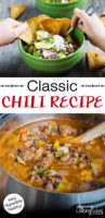 "photo collage of making homemade chili, with text overlay: ""Classic Chili Recipe"""