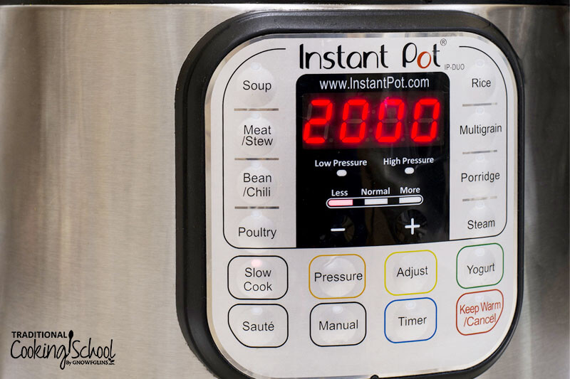 close up shot of the control panel for the Instant Pot, with time set to 20 minutes