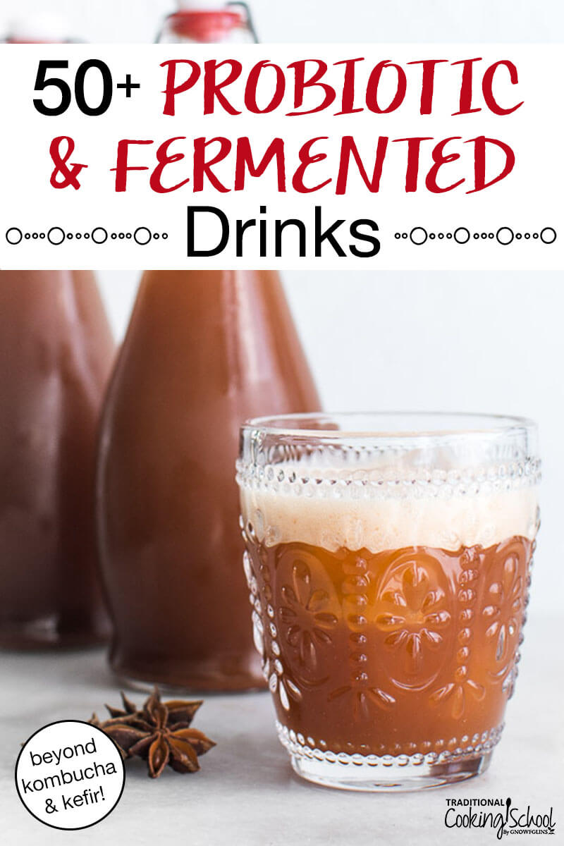 "homemade root beer in a decorative glass cup with fliptop bottles full of it in the background and text overlay: ""50+ Probiotic & Fermented Drinks (beyond kombucha & kefir!)"""