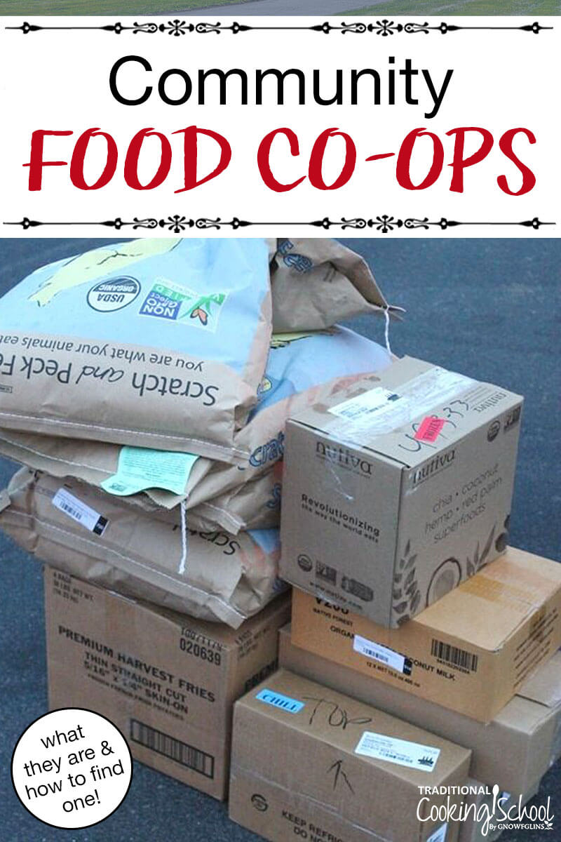 "array of boxes and bags of bulk food, with text overlay: ""Community Food Co-Ops (what they are & how to find one!)"""