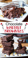 "photo collage of gluten-free brownies with text overlay: ""Chocolate Walnut Brownies (gluten-free!)"""