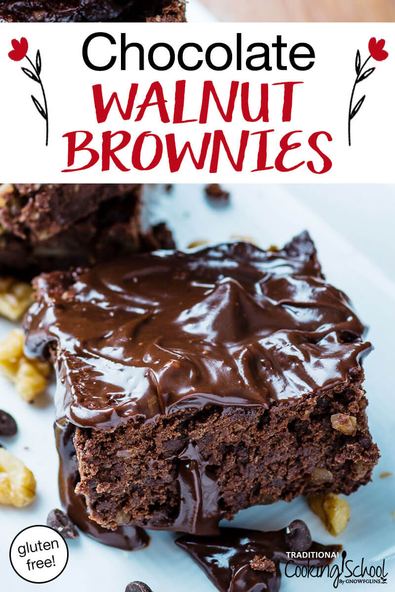 "Frosted brownie on a white plate with text overlay,""Chocolate Walnut Brownies - gluten free!"""