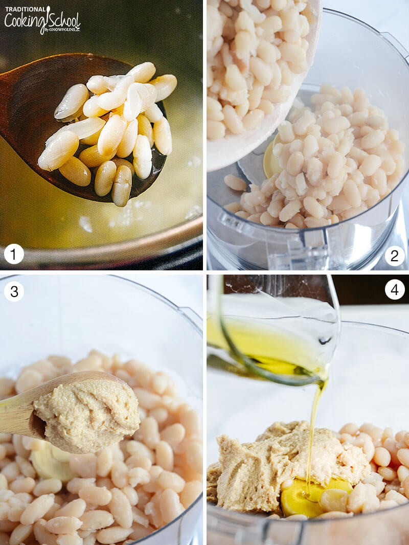 photo collage of the different steps of making white bean hummus