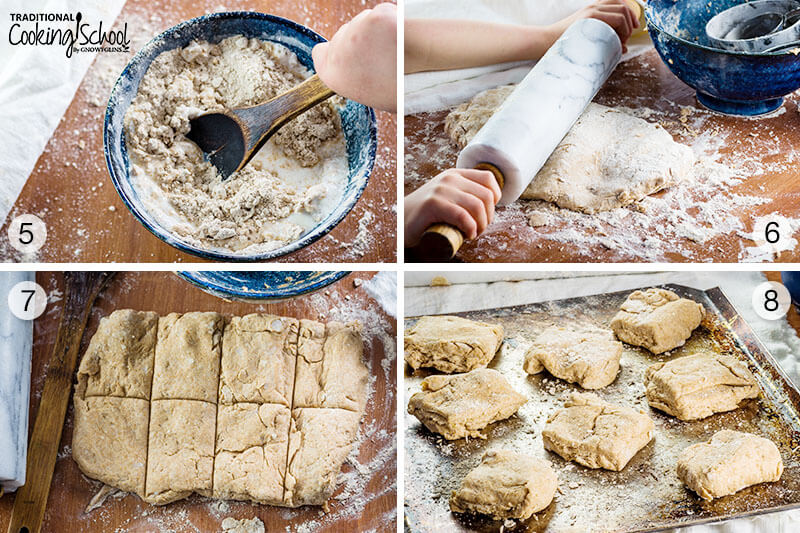 4 image collage of steps 5-8 for making homemade sprouted spelt biscuits.