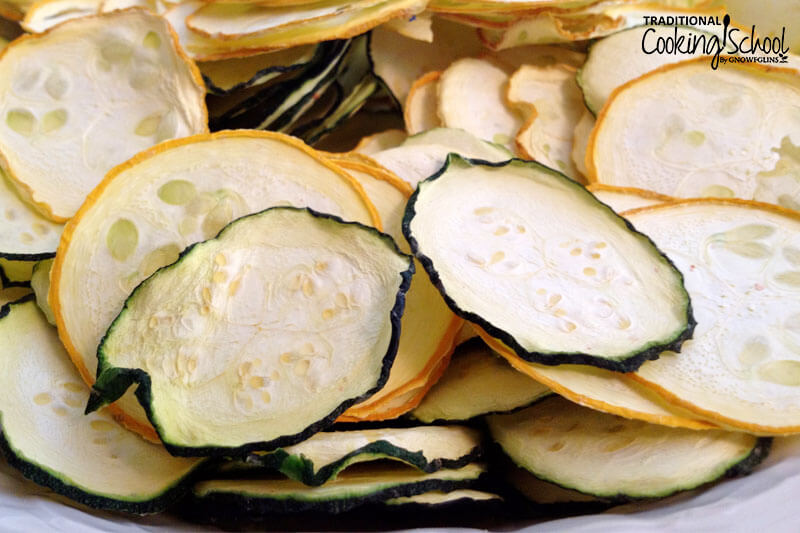 close-up photo of zucchini and squash chips that have been dehydrated