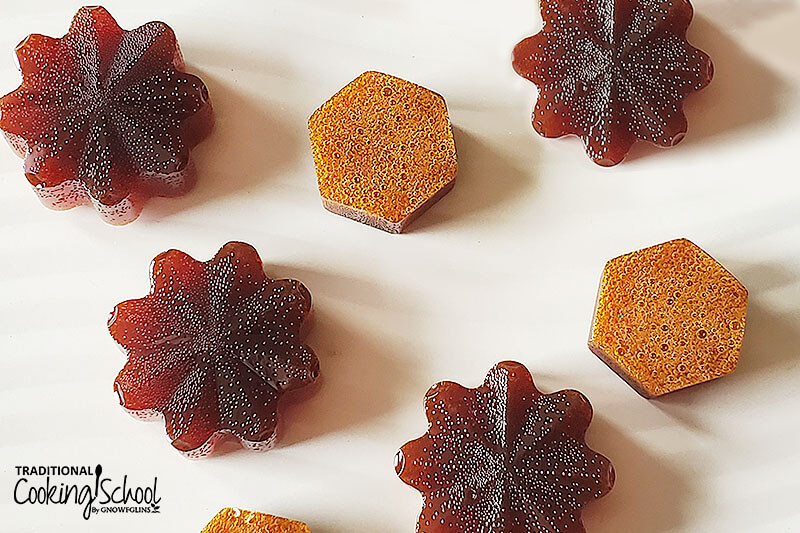 array of homemade candies in different shapes: flowers and hexagons