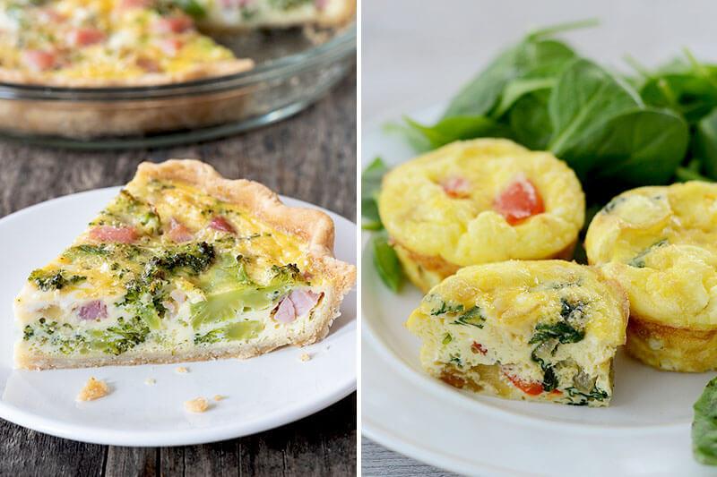 photo collage comparing a quiche (left) with a mini frittata (right)