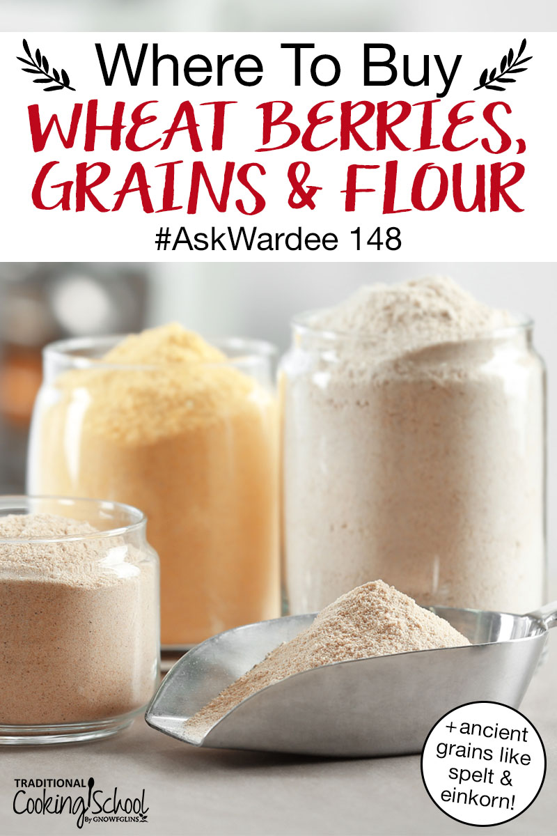 "array of flours in glass jars and metal scoops with text overlay: ""Where To Buy Wheat Berries, Grains & Flour #AskWardee 148 (+ancient grains like spelt & einkorn!)"""
