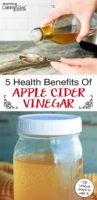 """photo collage of apple cider vinegar, including a woman pouring it into a measuring spoon, with text overlay: """"5 Health Benefits Of Apple Cider Vinegar (+50 unique ways to use it!)"""""""