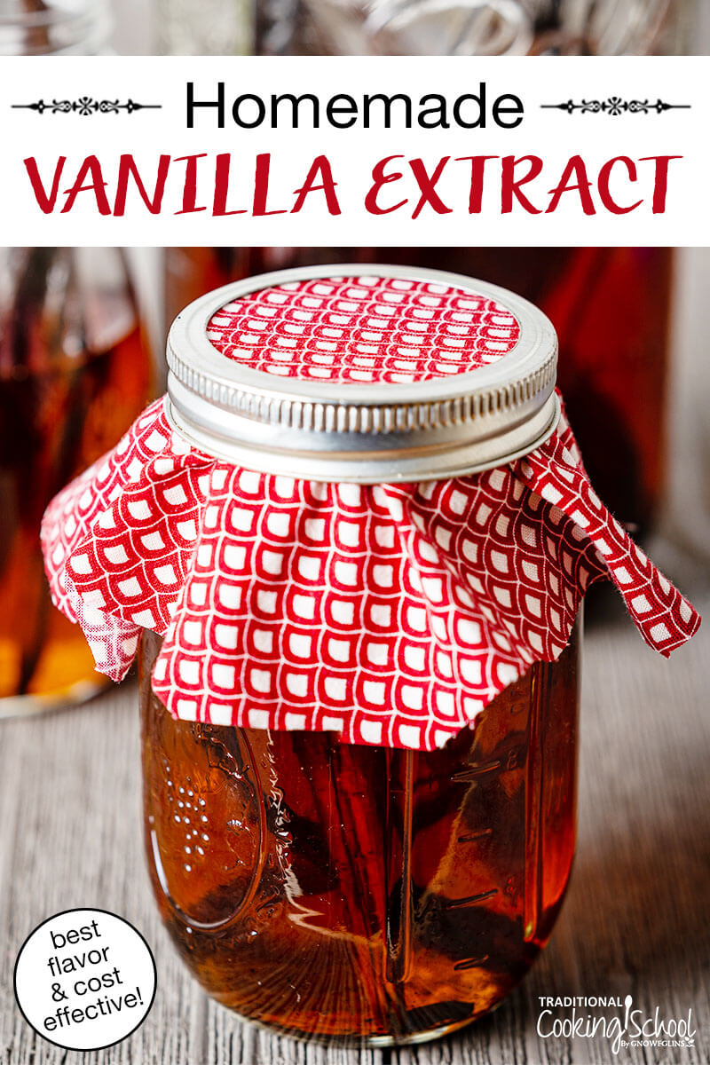 "pint-sized jar sealed with cloth and a metal band filled with a mixture of vanilla beans and vodka, with text overlay: ""Homemade Vanilla Extract (best flavor & cost effective!)"""