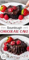 "photo collage of a white plate with a piece of chocolate frosted chocolate cake topped with fresh raspberries and strawberries. Text overlay says, ""Sourdough Chocolate Cake: rich, moist & not sour!"""