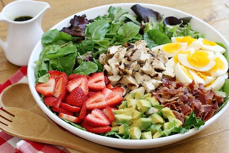large strawberry cobb salad