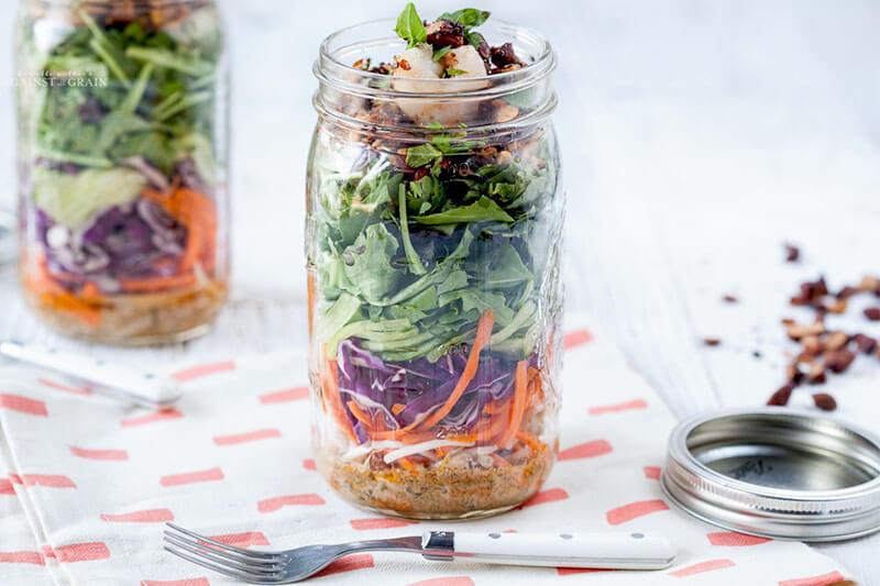 salad in a quart sized Mason jar