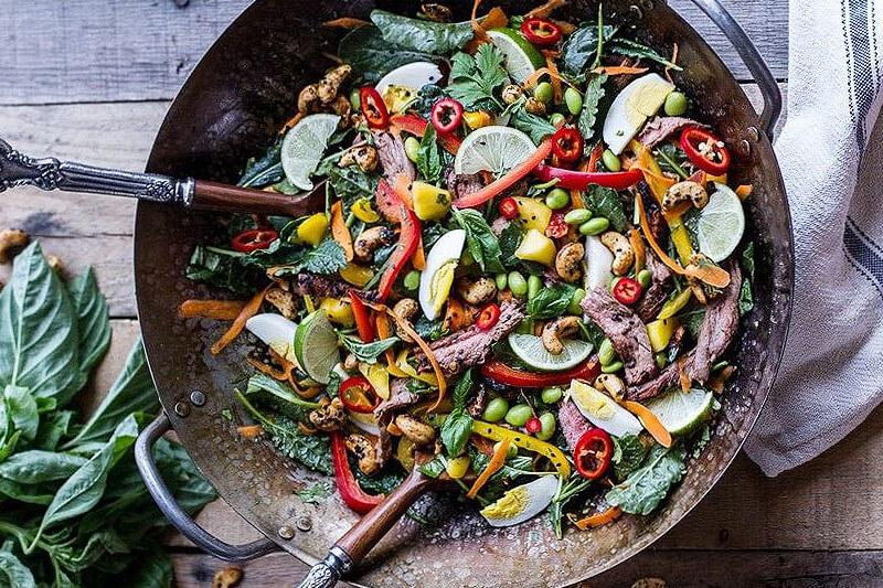 large pot of colorful Thai steak salad