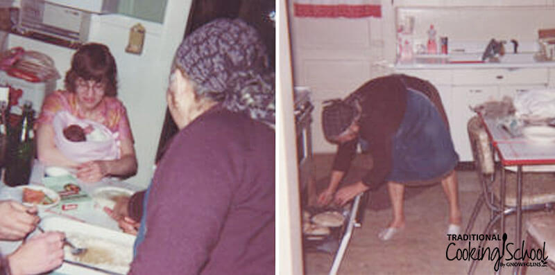 Two old photographs, one of a woman holding a baby sitting at a table. Another of a grandmother pulling flatbread out of the oven.