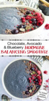 "photo collage of a blue-purple smoothie bowl garnished with blueberries, raspberries, and shaved chocolate. Text overlay: ""Chocolate, Avocado & Blueberry Hormone Balancing Smoothie (for luteal phase support!)"""